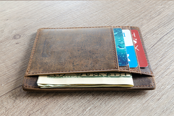 wallet on table - money