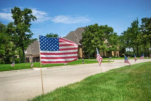 American flags in a neighborhood