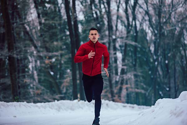 Man running in cold weather