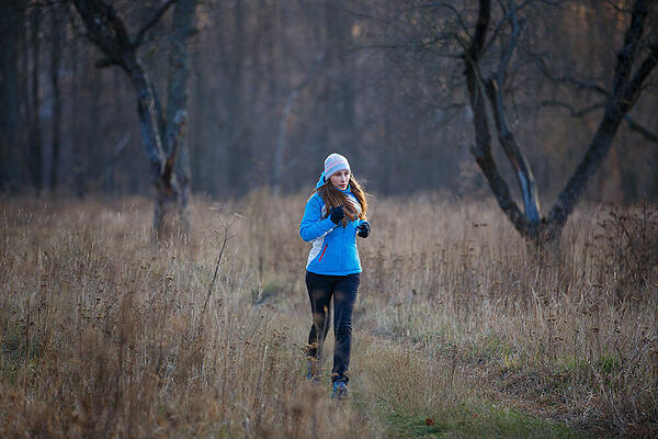 Woman running in cold weather