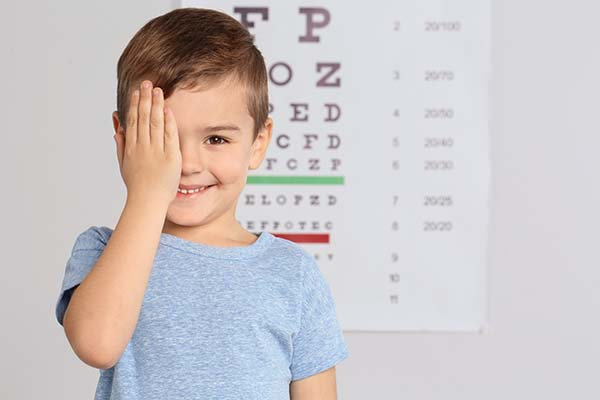 Child taking an eye exam