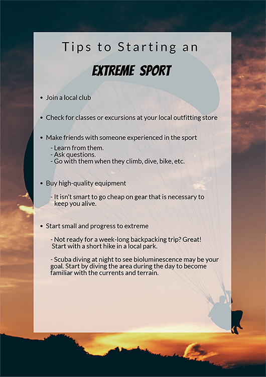 Extreme sports tips