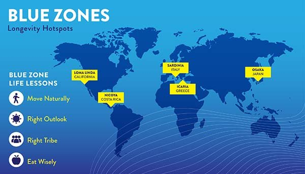 Map of blue zones around the world