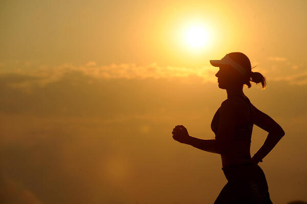 Woman exercising in heat