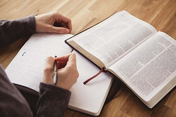 Reading Bible and journaling