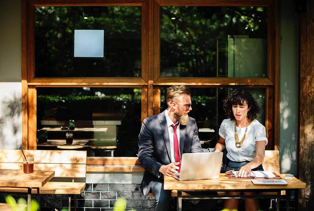 Man and woman business coaching