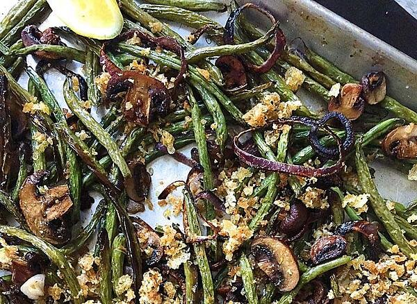 Roasted green beans, mushrooms, and onions with parmesan