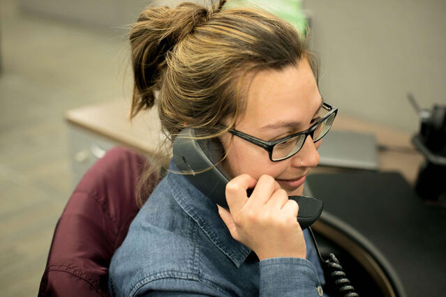 Michelle Paris making a phone call.