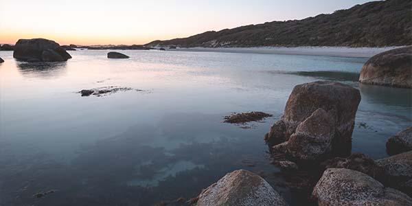 calm lake at sunset
