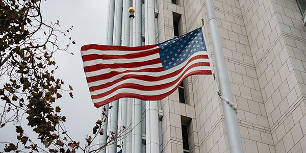 government building with flag