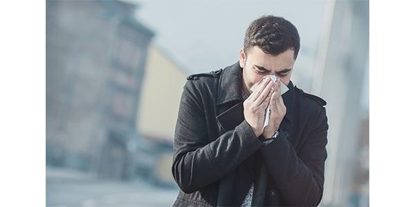 sick man in winter